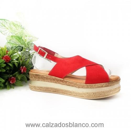 Sandalia 462 Rojo Tiras (6-448)